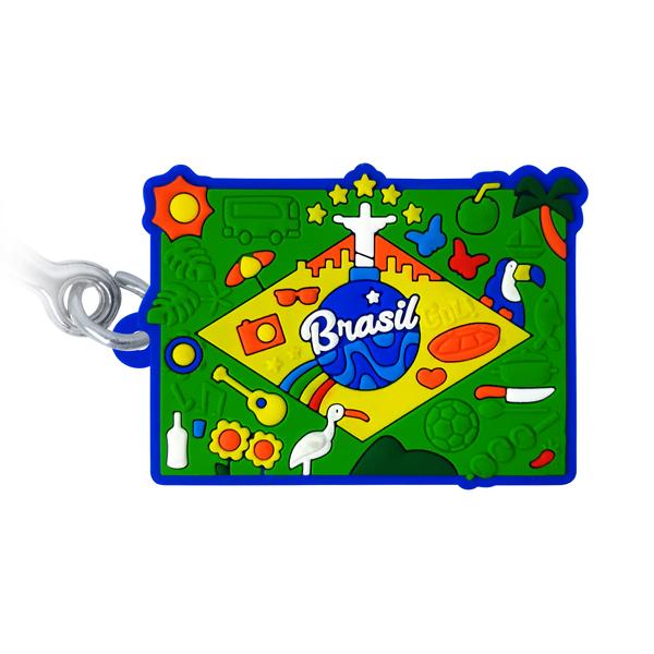 Brasil Bandeira Figuras - Chaveiro emborrachado