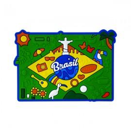 Brasil Bandeira Figuras - Imã de Geladeira