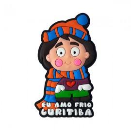 Curitiba Menino Inverno  - Imã de Geladeira