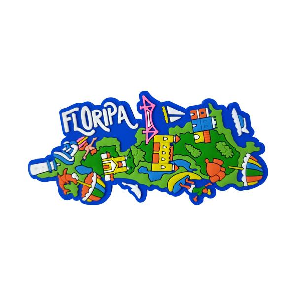 Floripa Mapa Turístico - Imã de Geladeira